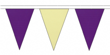 PURPLE AND BEIGE TRIANGULAR BUNTING - 10m / 20m / 50m LENGTHS
